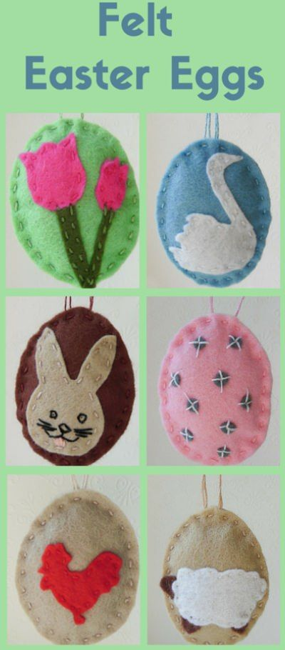 Easter Felt Ornaments - A Free Photo Tutorial with cut out templates Rabbit, Easter bunny, swan, rooster, sheep and confetti egg sew sewing