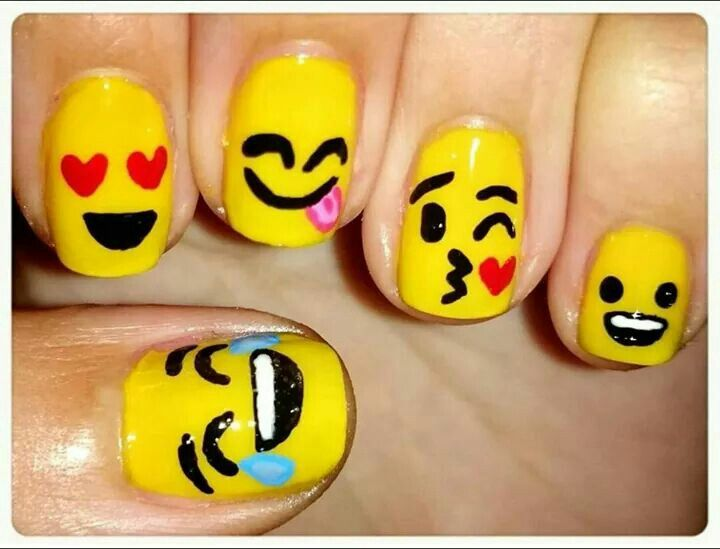 Emoji Nail Art https://noahxnw.tumblr.com/post/160948507541/the-girl-getting-her-hair-done-is-super-pretty