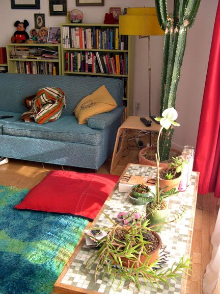 Soft Blue And Green Dominate Accents Of Red Yellow Living Room IdeasGreen