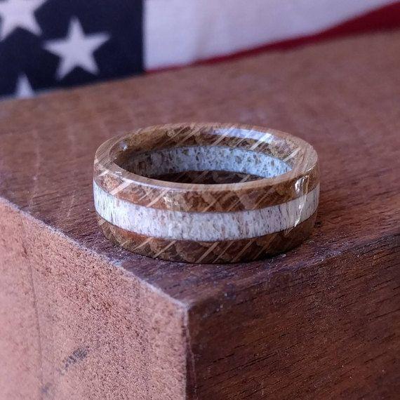 Elk Antler Ring - Wooden Ring - Whiskey Barrel Ring - Wooden Rings for Men - Wooden Wedding Band -  Mens Wooden Rings
