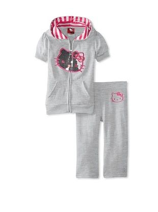 50% OFF Hello Kitty Girl's Short Sleeve Hoodie & Sweatpant Set (Heather Gray)