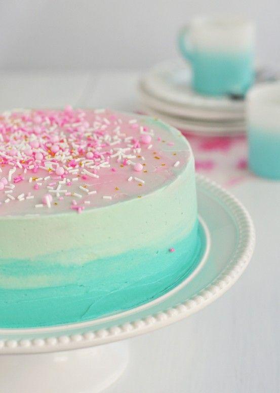 Cake Recipe, Vanilla Cake, Pretty Cake, Ombre Cake, Blue Cake, Wedding Cake, Birthday Cake, Fluffy Vanilla, Pink Cake