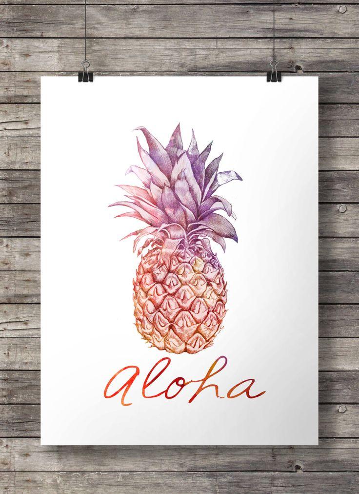 Aloha Pineapple Printable wall art 8x10 and by SouthPacific
