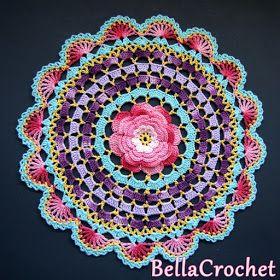 "Radiant Rose Mandala Doily    By Elizabeth Ann White    For BellaCrochet     Size:  About 11"" across   Skill Level: Intermediate- for t..."