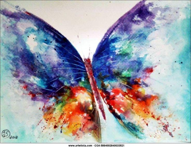 Dibujo en acuarela de una mariposa por Joaquín Serrado Díaz. Se utiliza el lavado. Lo he escogido por la explosión de colores que ha creado el artista.