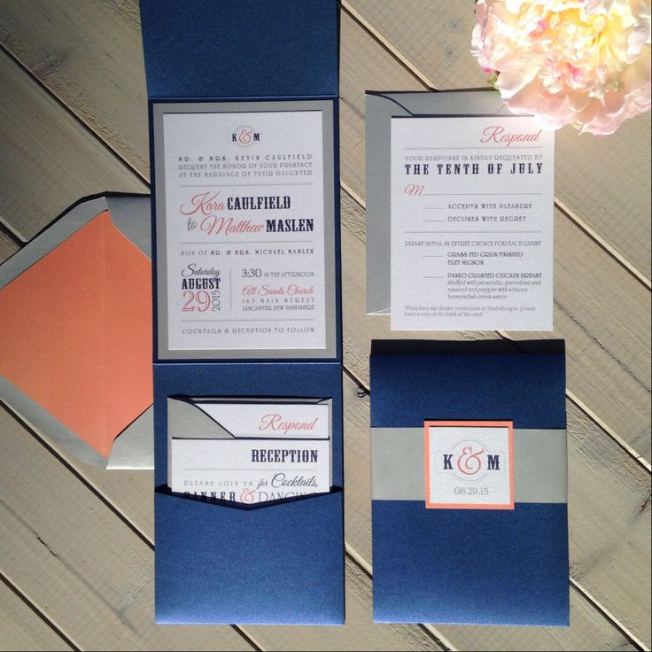 Navy And Coral Wedding Invitations, Modern Wedding Invitations, Blue And  Silver Wedding Invitations,