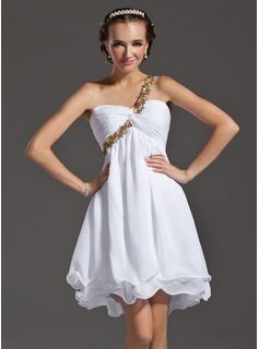 A-Line/Princess One-Shoulder Short/Mini Chiffon  Charmeuse Evening Dresses With Ruffle  Beading (017005815)