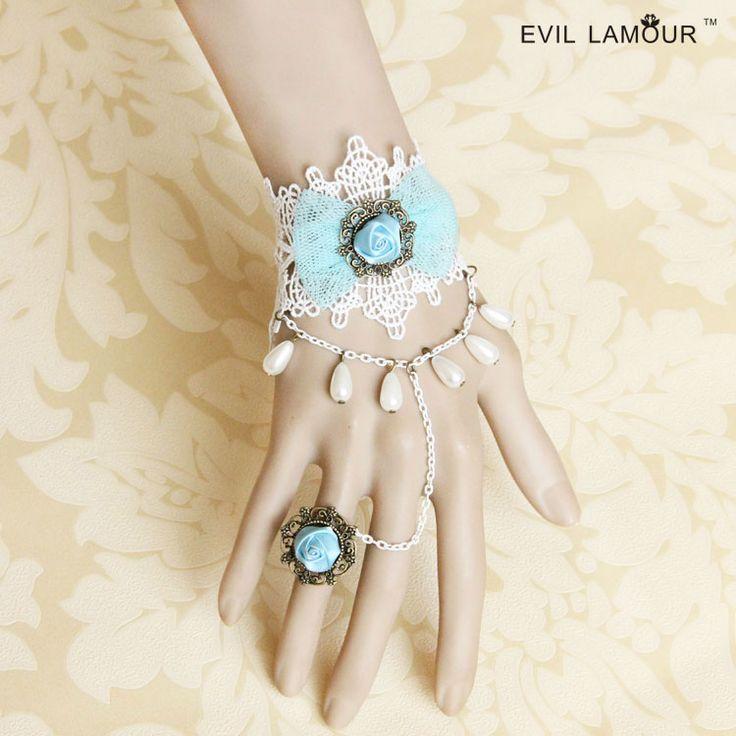 Принцесса сладкий лолита браслет Винтаж светло-голубой пряжи лук браслет с роуз невеста ер ен ос один кусок цепи ручной работы пром ювелирные изделия