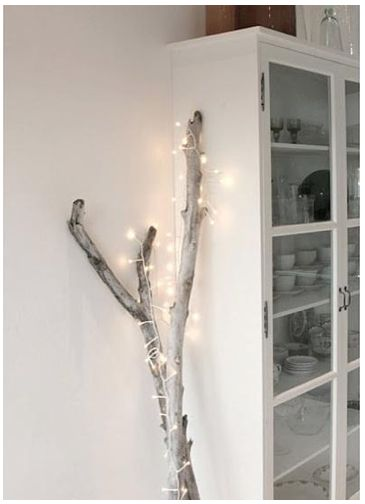 holiday: christmas lights on driftwood