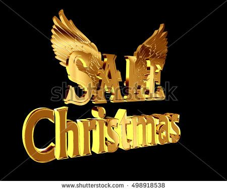 3d illustration. Gold text Christmas sale with wings on a black background