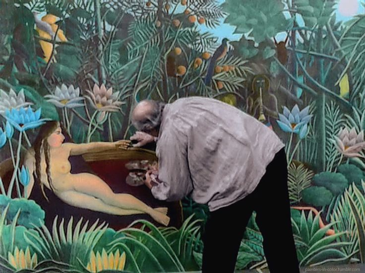 "Henri 'Le Douanier' Rousseau at work on his last completed painting ""Le Rêve"" (The Dream), 1910."