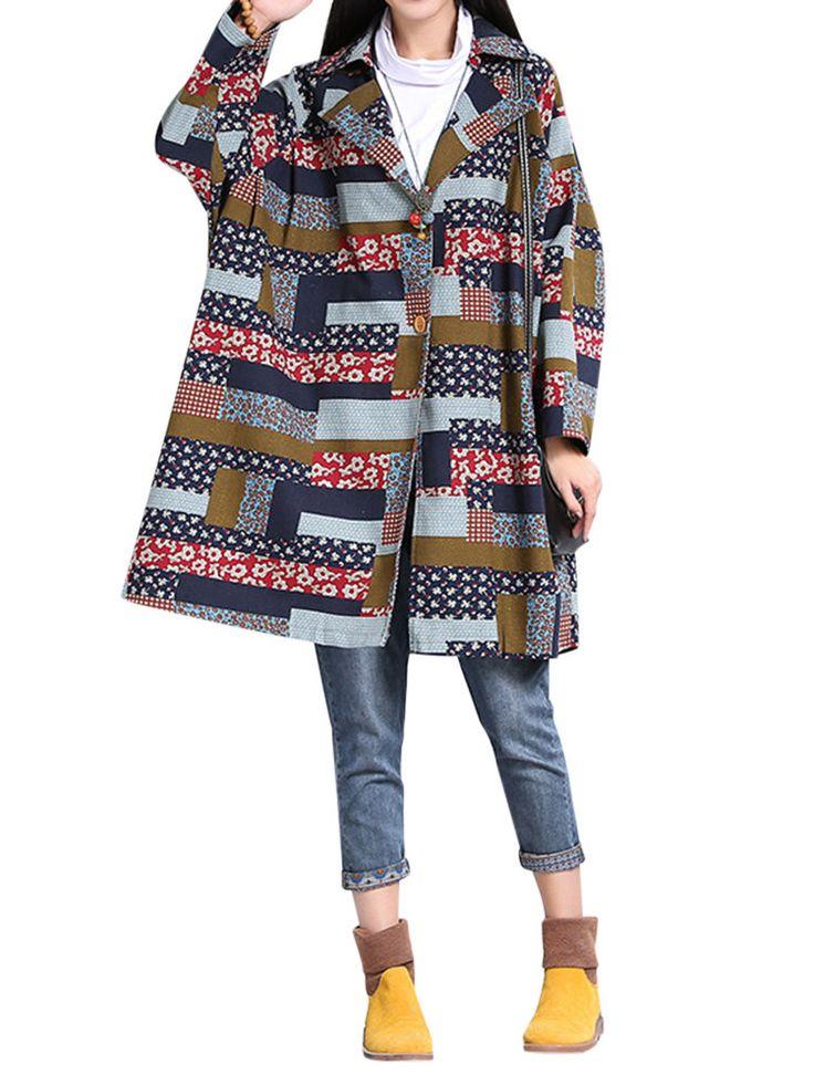 Женщины Этнические Vintage Plaid печати отложным воротником с длинным рукавом пальто
