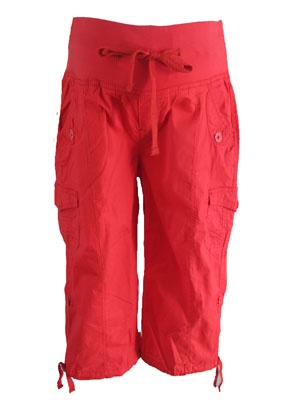 Capris in Red by Oh! Mamma - Maternity Clothing - Flybelly Maternity Clothing