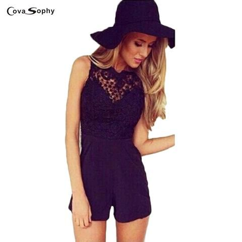 12facda84b12  EBay  Covasophy Women Summer 2017 Sexy Jumpsuit Sleeveless Flower Lace  Playsuits Solid Colors Halter