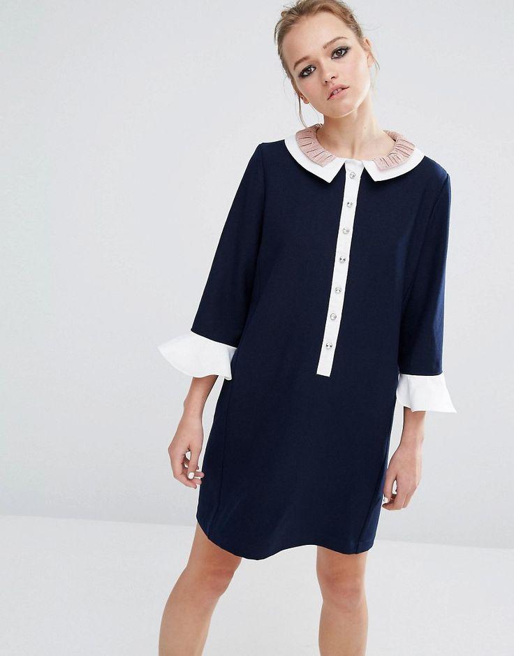 Sister Jane Ruffle Collar Dress - Navy £72.00 AT vintagedancer.com