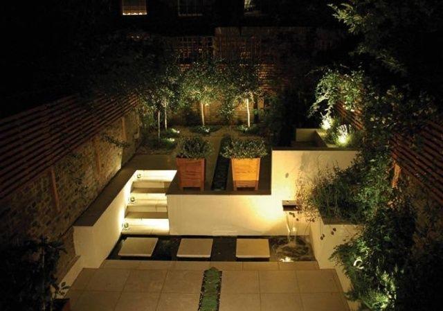 Amazing beleuchtung garten terrasse einbauleuchten led wasserspiel treppenstufen Kleingarten Pinterest LED Gartenbeleuchtung and Garten