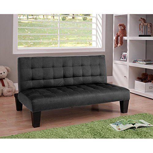 Junior Sofa Futon Couch Microfiber Black Childrens Kids Furniture Playroom New #DHP
