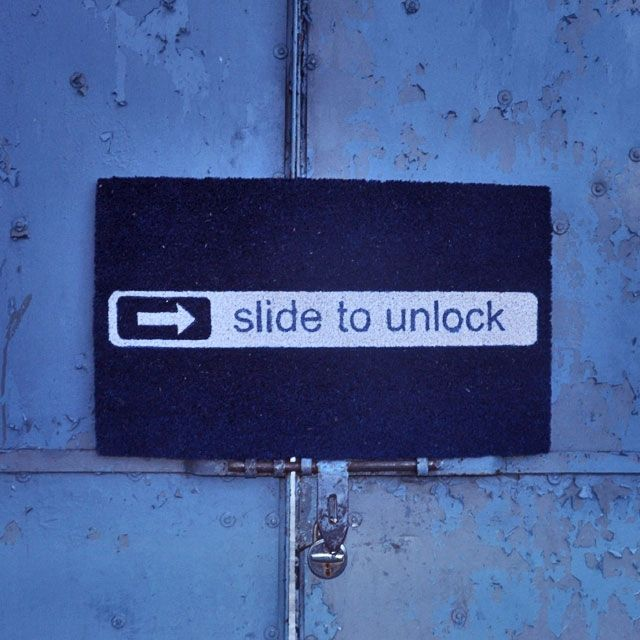 850.00 Showcase your style and love of iPhone with this unique slide to unlock doormat! A family gathering, a dinner party or just a visit from friends or relatives, this door mat is sure to raise some eyebrows and add a little oomph to your doorway. A sure conversation starter, this funny mat welcomes your guests and also makes great gift. Made to withstand the harshest elements it is also Eco-friendly. Measures 45 x 75 x 1.7 Made with Durable Coir (coconut husk) with PVC/rubber backing.
