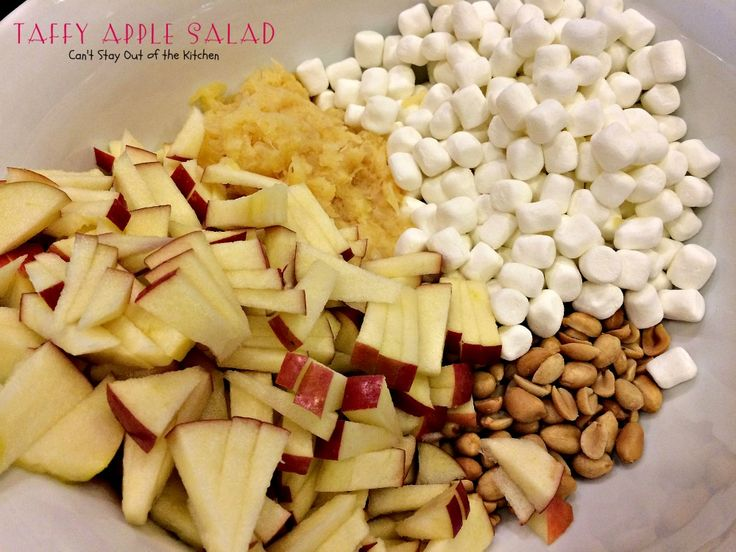Taffy Apple Salad   Can't Stay Out of the Kitchen   This delectable #salad tastes just like eating #candyapples! It's great for #holiday menus. #apples #peanuts #pineapple