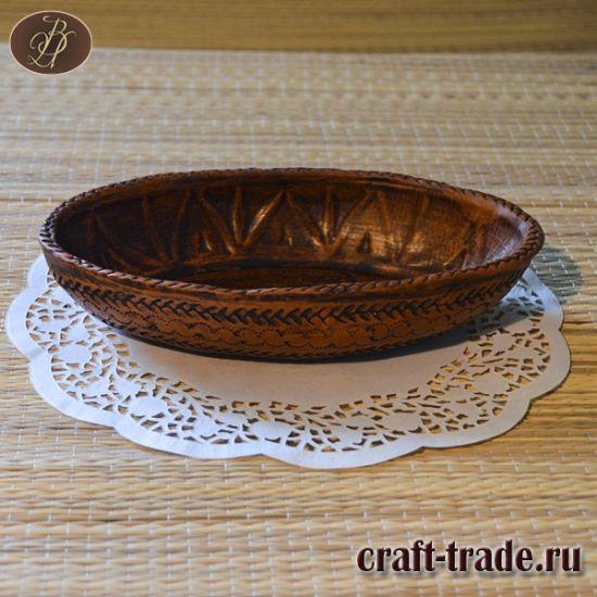 Небольшое керамическое глубокое блюдо овальной формы ручной работы Колоски - керамическая посуда ручной работы в интернет магазине Рукоделец
