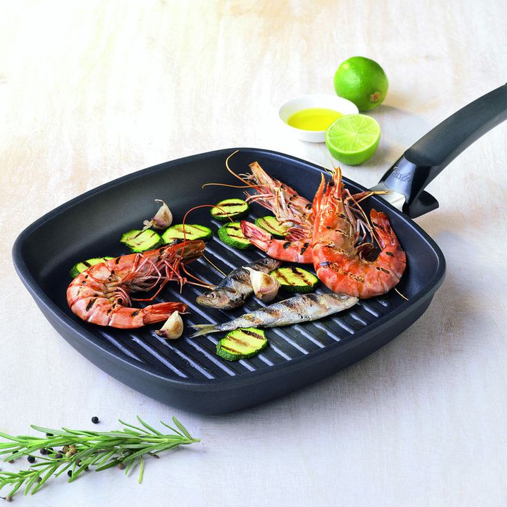 Fissler Special Grill Pand. The convenient square form makes handling grilled food easy and the pan features a grooved frying surface for gentle, low-fat frying with the typical grill effect.