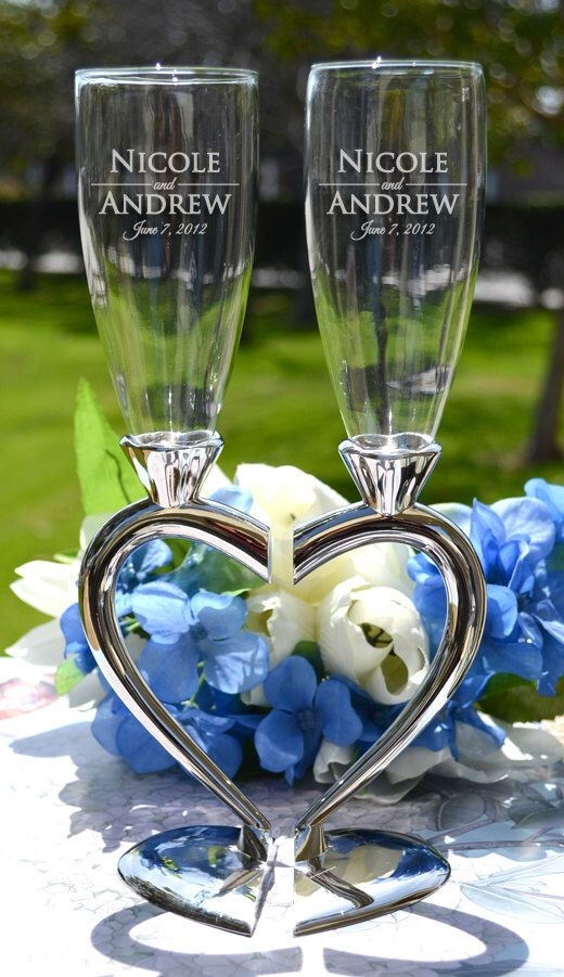 Wedding Toasting Glasses - (Set of TWO) Heart Stem Champagne Flutes - Personalized Champagne Glasses - Wedding Gift - Anniversary Gift by LetsTieTheKnot on Etsy https://www.etsy.com/listing/127996774/wedding-toasting-glasses-set-of-two