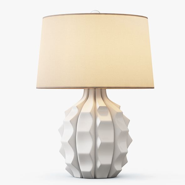 Scalloped Ceramic Table Lamp White