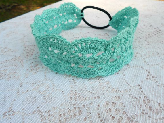 Check out this item in my Etsy shop https://www.etsy.com/listing/328426805/aqua-lacy-headband-vintage-headband-lacy