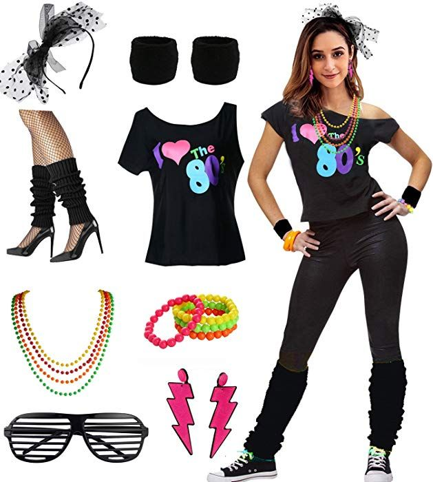 Amazon Com Womens I Love The 80 S Disco 80s Costume Outfit Accessories Clothing Costume Outfits 80s Costume Outfit Accessories