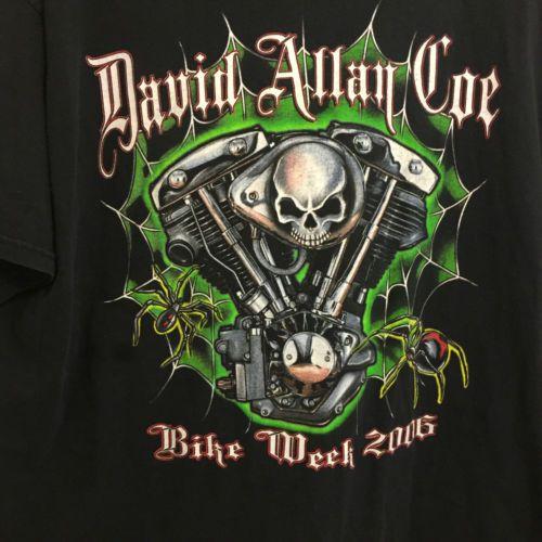 David-Allan-Coe-World-Tour-Bike-Week-Concert-T-Shirt-2XL-Double-Sided-Rare
