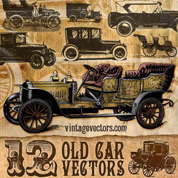 Design Freebies of the Week No. 37 - StarSunflower Studio; vintage car vectors