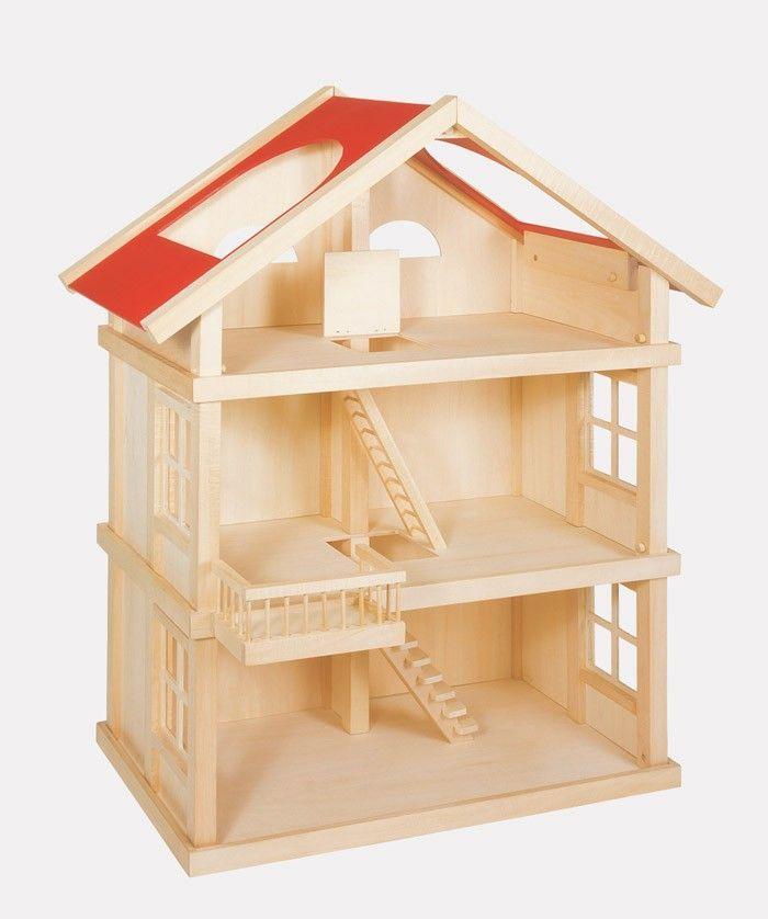 Puppenhaus mit rotem Dach aus Holz, drei Etagen    Ein wahres Kleinod in bester Lage. Das großzügig geschnittene Einfamilienhaus auf drei Etagen mit ausgebautem Dachboden bietet der ganzen Familie genug Platz zum Wohnen und Leben. Der offene Wohn- und Essbereich im Erdgeschoß hat einen direkten Zugang zum großzügig bemessenen Garten. Im ersten Stock befindet sich neben einem großen Schlafzimmer mit schnuckeligem Balkon auch ein modern ausbaubares Bad. Unter dem Dach mit seinen gemütlichen…