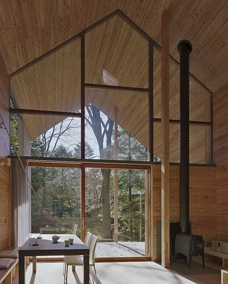 wooden interior, fireplace