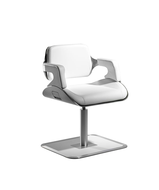 kimball 39 s interstuhl silver swivel chair in white design for more. Black Bedroom Furniture Sets. Home Design Ideas