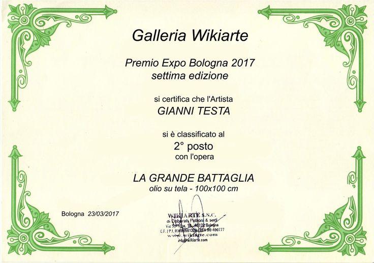 PARTECIPAZIONE ALL'EXPO DI BOLOGNA CON LA GALLERIA WIKIARTE ! VINTO IL 2° PREMIO !