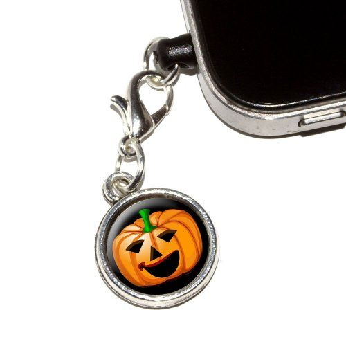 Graphics and More Jack-o-lantern - Pumpkin - Halloween Anti-Dust Plug Universal Fit 3.5mm Earphone Headset Jack Charm for Mobile Phones - 1 Pack - Non-Retail Packaging - Antiqued Silver