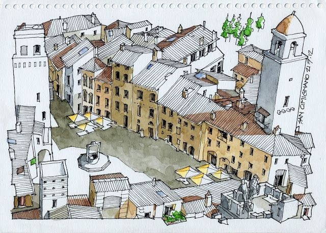 JR Sketches: San Gimignano, Piazza Duomo.