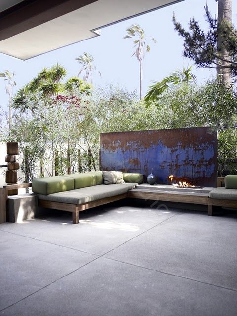 Painted SteelOutdoor Ideas, Outdoor Seats, Outdoor Living, Seats Area, Outdoor Couch, Outdoor Spaces, Outdoor Areas, Covered Porches, Fire Pit