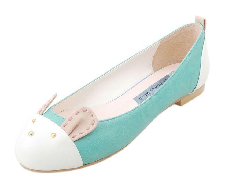 {Mint Bunny Motive Ballet Flats} super cute!