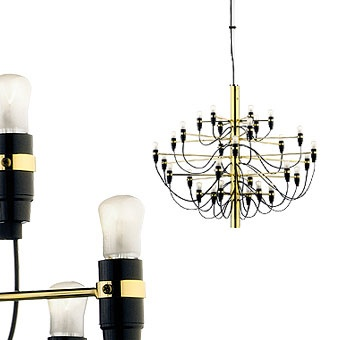 FLOS 2097 50 in gold designed by Gino Sarfatti in 1958