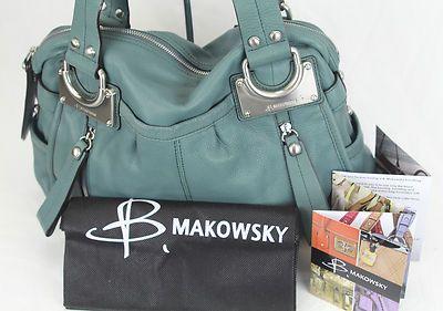 NWT B'Makowsky Leather Green Silver-Hardware Satchel Purse Shopper Bag MSRP $288
