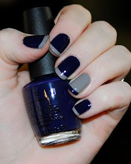 Navy and Gray mani from adventuresofmegabestfriends.blogspot.com