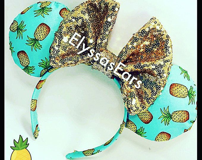 Pineapple Dole Whip Minnie Ears, mickey ears, disneyland, custom, personalized, gift for her, minnie party