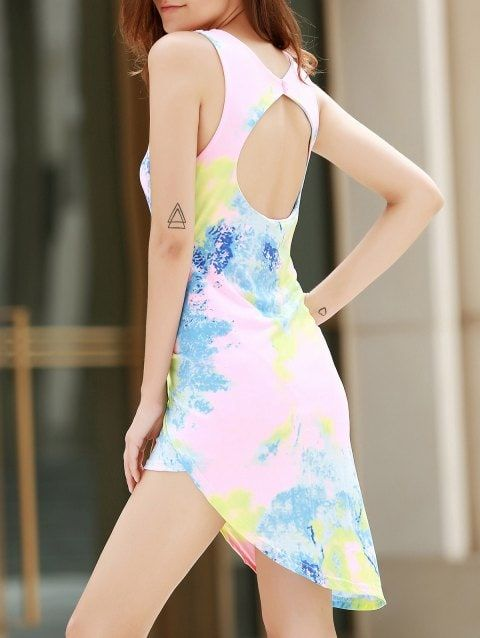 51023bb771 Alluring Plunging Neck Sleeveless Asymmetrical Printed Women s Dress -  COLORMIX S