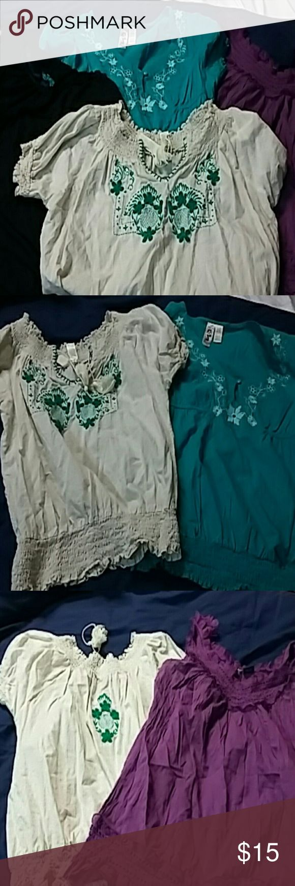 4 Embroderied elastic bottom smock tops Purple ruffled spaghetti strap and Black razor back cream smock top and green smock top all 4 size large Other
