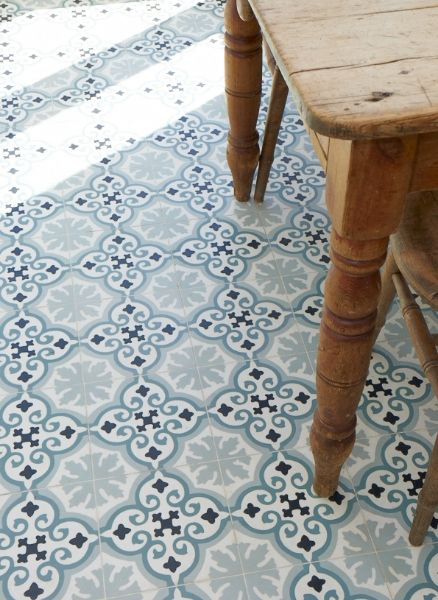 blue and white floor tiles