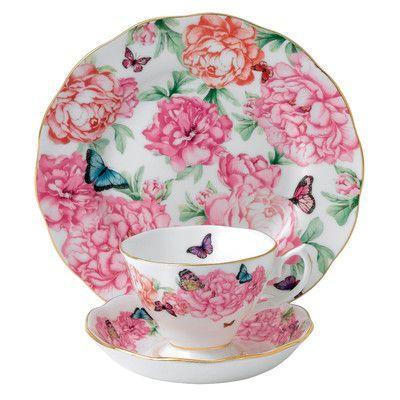 """Royal Albert Miranda Kerr 8"""" Gratitude 3 Piece Tea Place Setting"""