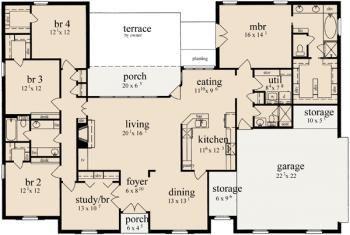 4 Bedroom House Plans Open Floor 2500 Sq Ft
