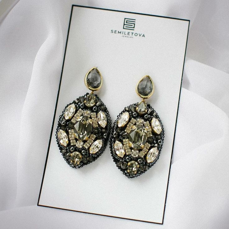 Earrings with Swarovski and japanese beads.SEMILETOVA.JEWELRY