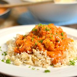 """Indian """"Butter"""" Cauliflower with Coconut Brown Rice"""